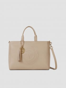 Trussardi Borsa Shopper Large Faith in similpelle martellata