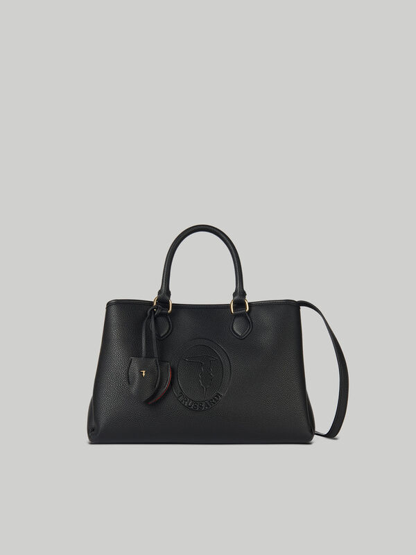 Medium Iris tote bag in faux leather TRUSSARDI JEANS 10 01 8051932575809 F1