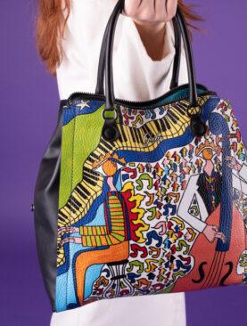 Borsa Gabs modello Bellona Tg L- Lab Pelle + Abrazo Black The Jazz Trio